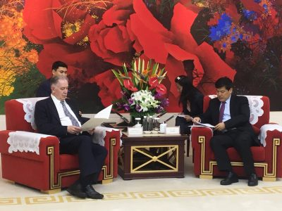 Rector of the Moscow State Tchaikovsky Conservatory A.S. Sokolov and Mayor of Chengdu Mr. Luo Qiang